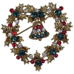 New Holiday Wreath Swarovski Crystal Brooch